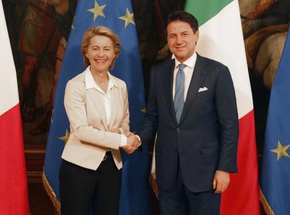 President of the EU Commission, Ursula von der Leyen, meets Italian premier Giuseppe Conte at Chigi Palace in Rome, Friday, Aug. 2, 2019. (AP Photo/Domenico Stinellis)